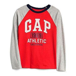 Camiseta GAP Infantil Raglan Logo Vermelha/Cinza