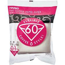 Filtro de Papel Branco para Hario V60 01  - 100 Un