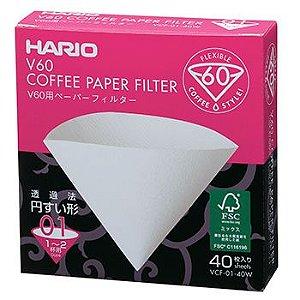 Filtro de Papel Branco para Hario V60 01 - 40 unidades