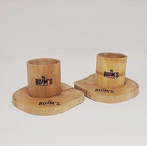 Kit de Copos para Espresso em Madeira de Cafeeiro