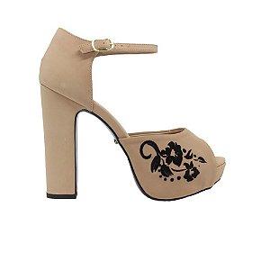 Sapato Feminino Peep Toe Shepz Detalhe Floral