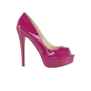 Sapato Feminino Peep Toe SHEPZ Verniz Pink