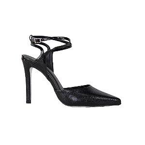 Sapato Feminino Scarpin SHEPZ Chanel Bico Fino Salto Alto Ajuste nos Tornozelos Preto