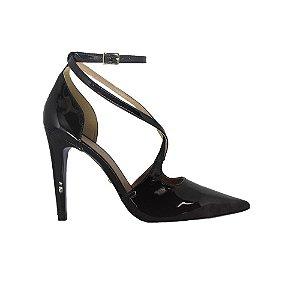 Sapato Feminino Scarpin SHEPZ Verniz Tiras Preto