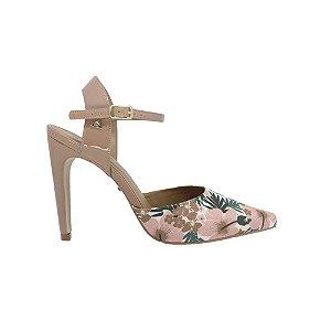 Sapato Feminino Scarpin SHEPZ Amêndoa Detalhe Floral