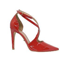 Sapato Feminino Scarpin SHEPZ Verniz Tiras Coral