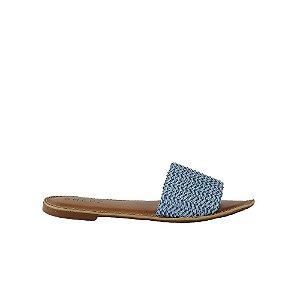 Rasteira Feminina Flat SHEPZ Couro Trançado Azul Claro
