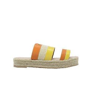 Rasteira Feminina Flat SHEPZ Plataforma Linho Mix Cores Amarelo e Laranja