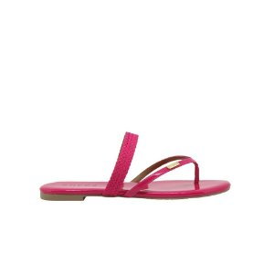Rasteira Feminina Flat SHEPZ Verniz Tiras Finas Pink