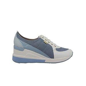 Tênis Feminino SHEPZ Verniz Branco e Azul