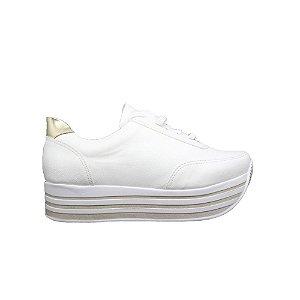 Tênis Feminino SHEPZ Solado Alto Listrado Branco