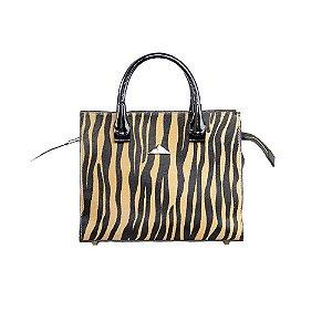 Bolsa Feminina Estruturada SHEPZ Couro com Estampa Animal Print Caramelo e Preto