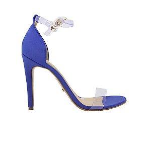 Sandália Feminina SHEPZ Salto Fino Tiras Transparente Lycra Azul