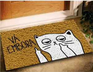 Tapete Capacho Gato Vá Embora 60x40 Pet Cat Casa Entrada Lar