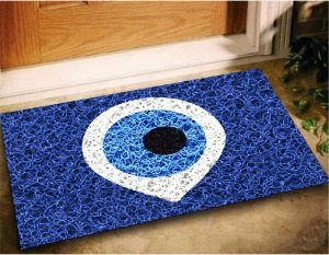 Tapete Capacho Olho Grego 60x40cm - Azul