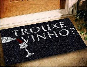 Tapete Emborrachado Entrada Trouxe Vinho 60x40 Divertido - Preto