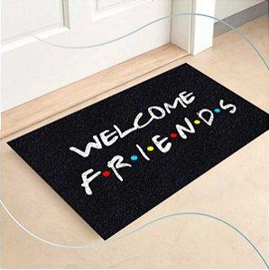 Tapete Capacho Welcome Friends  60x40 - Preto
