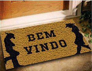 Tapete Capacho Entrada Bem Vindo Cowboy 60x40 Casa Decoração