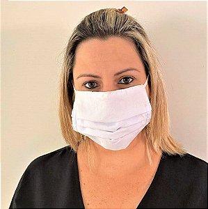 KIT 10 MÁSCARAS PARA PROTEÇÃO INDIVIDUAL DE TECIDO ALGODÃO BRANCA
