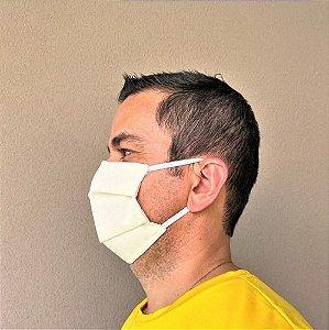 3 Máscaras Lavável De Elástico Branco e Tecido Branco