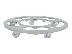 Suporte Para Vaso Redondo 35cm Alumínio Roda Silicone Prata