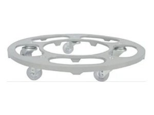 Suporte Para Vaso Redondo 40cm Alumínio Roda Silicone Prata
