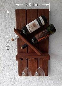 Suporte De Parede Para 2 Vinhos E Duas Taças Gourmet 28x60