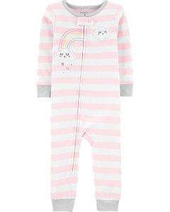 Pijama sem pé - Listrado com nuvem