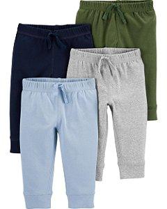 Calças de algodão 4 peças - Azul Marinho, Azul Claro, Cinza e Verde