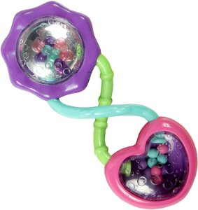Chocalho Rattle & Shake Barbell - Bright Starts - Rosa - 3m+