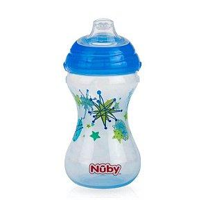 Copo Decorado com Bico de Silicone 300ml - Azul - Nuby