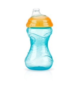 Copo com Bico de Silicone 300ml - aqua e laranja - Nuby