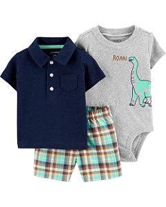 Conjunto de 3 peças Dinossauro – Short Xadrez e Camisa Polo Azul Marinho