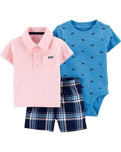Conjunto de 3 peças Baleia – Short Xadrez e Camisa Polo Rosa