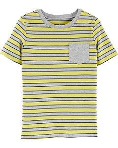 Camiseta listrada com bolso amarela e cinza
