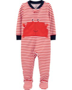 Pijama com pé - Listrado com desenho de caranguejo
