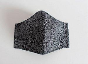 Máscara de Proteção Adulto - Caracóis Preto