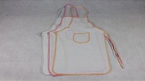 Avental Infantil de Pano Branco Liso com Viés Colorido Variado 100% Algodão 38x60cm