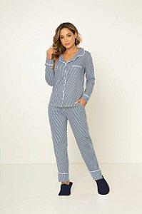 Pijama Camisaria Manga Longa com Abertura Frontal Marinho e Branco Listrado