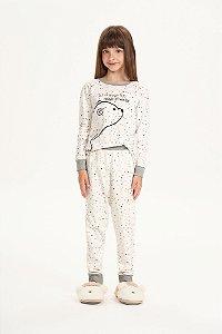 Pijama Menina e Teen Manga Longa Mescla Urso Polar