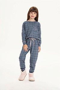 Pijama Menina e Teen Manga Longa Azul Tempestade Grid