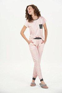 Pijama Feminino Adulto Manga Curta Listrado Branco e Rosa com Calça