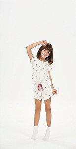 Shortdoll Infantil e Teen Manga Curta Off-White estampa Maçãs