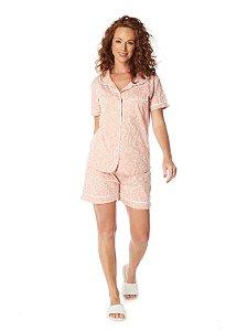 Pijama Camisaria Manga Curta com Abertura Frontal Estampa Floral Arte Rosa