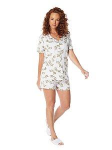 Pijama Camisaria Manga Curta com Abertura Frontal Estampa Folhagens