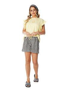 Shortdoll Manga Curta Vichy Preto e Branco com Camiseta Amarelinha 100% algodão