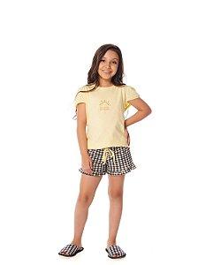 Shortdoll Infantil e Teen Manga Curta Vichy Preto e Branco com Camiseta Amarelinha 100% algodão