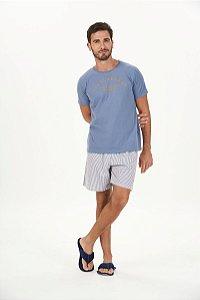 Pijama Masculino Adulto e Teen Curto Azul Listrado Malha Peletizada