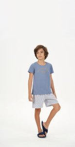 Pijama Menino e Teen Curto Azul Listrado Malha Peletizada