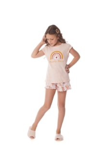 Shortdoll Infantil Manga Curta Arco-íris Happy Days 100% algodão